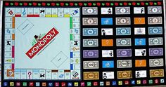 RARE MONOPOLY GAME BOARD COTTON QUILT FABRIC PANEL - $19.95 : Quilt Fabric - The Oz Material Girls, quilt | quilting | patchwork fabrics