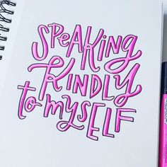 """Today's #BetterLetteringCourse #SelfLoveFebruary prompt: """"I plan to continue to show love for myself by...."""" speaking kindly to myself.  I think the words we say to ourselves have a major impact on our self-esteem and self-confidence. Speaking kindly (but honestly) to myself is an intentional way that I ensure my self-image stays positive. If you want others to believe in you you have to believe in yourself first!   Remember the March challenge starts Tuesday! Get instant access to the $20…"""
