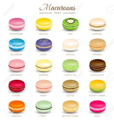 Stock Vector Colorful Macaroons Flavors Royalty Free Cliparts, Vectors, And … French Macaroon Recipes, French Macaroons, French Macaron Flavors, How To Make Macaroons, Macaroon Filling, Macaroon Cookies, Shortbread Cookies, Macaroons Flavors, Baking Recipes