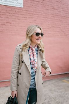 Trench Coat Styling Tips with a scarf