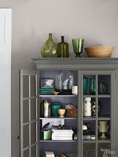 A no-fail Ralph Lauren Paint palette from Better Homes and Gardens features an  organic scheme of three grays, plus a steely blue metallic.