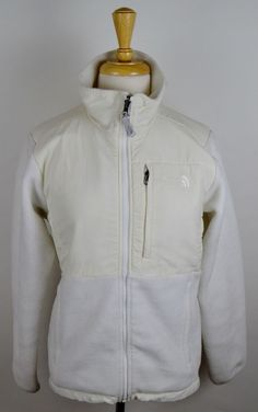 North Face Womens Medium Denali Polartec White Fleece Polyester Full Zip Coat #TheNorthFace #FleeceJacket