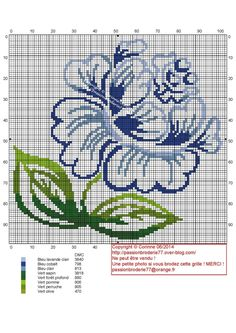Minimalist blue rose cross stitch pattern