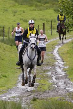 The Man vs Horse Marathon (almost ... it's 22 miles) has taken place in Llanwrtyd Wells, #Wales, #UK since 1980. Surprisingly, runners (and now cyclists) can sometimes beat horses over this distance! More: http://en.wikipedia.org/wiki/Man_versus_Horse_Marathon