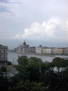 View from the top of Buda Castle, focus on the Parliament
