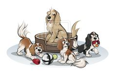 Cavalier Spaniels and Cocker Spaniel Caricatures by timmcfarlin on DeviantArt
