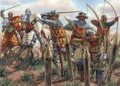 Batalla de Azincourt o Agincourt 1.415. Ejercito inglés. Autor Giuseppe Rava http://www.g-rava.it