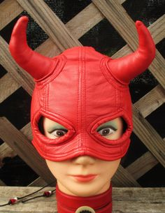 Red Lambskin Leather Half Mask with Devil by LeatherheadOriginals