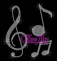Music Note  CLEAR Clef and Note  Iron on Rhinestone by BlingPlaza