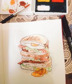 Guacamole breakfast sandwich - day 4 - #articraftstore #artidailycc15 #art #craft #illustration #traditionalart #painting #watercolor #reeves #drawing #brush #zig #kuretake #sakura #burger #sandwich #breakfast #egg #practice #instaartwork #instaart #instaartist Sandwich Drawing, Egg Burger, Sandwich Day, Food Drawing, Cool Art Drawings, Cute Food, Traditional Art, Insta Art, Craft Stores