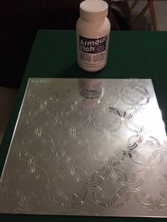 """We begin with choosing a 12"""" X 12"""" Template that would be used for stenciling. So it has already had the  pattern cut out of it where your Etching Cream will go…"""