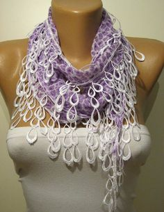 Lilac and Elegance Shawl / Scarf with Lace Edge by SwedishShop, $13.90