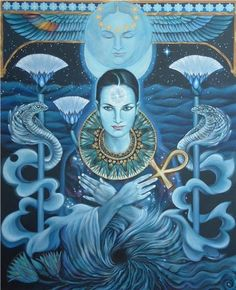 Art by: Sami Edelstein Description by: Angela Marie BLUE ISIS: STAR Neter of Sirius, Primeval Waters- Source of the world, that is, our local Universe Create… Star Goddess, Isis Goddess, Egyptian Goddess, Egyptian Art, Goddess Art, Queen Isis, Madonna, Sirius B, Sirius Star