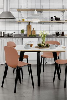 Create a stunning kitchen, restaurant or canteen with furniture from Flokk. Scandinavian design furniture for any space in a variety of colours. Minimal design for a trendy dining area. Choose from our collection of designer chairs and tables.  Click to discover more!  #flokk #kitchenfurniture #scandinavianliving #scandinaviandesign #designerfurniture #archidesign #interiordesignideas #interiordesign #kitchendesign   Canteen design architecture spaces.