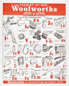 Bargains at Woolworths, Levin, New Zealand. Vintage Advertisements, Vintage Ads, Vintage Posters, Grocery Ads, Grocery Store, Photo Vintage, Knitting Wool, Old Ads, Retro Design