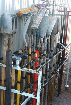 Yard Tool Storage Ideas, Garden Tool Storage, Shed Storage, Garage Storage, Diy Storage, Storage Rack, Welding Shop, Diy Welding, Welding Tools