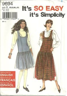 Classy Patterns - Simplicity 9694 Easy Misses Drop Waist Full Skirt Dress Sewing Pattern Plus Size 6-24