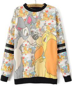 Yellow Long Sleeve Dogs Print Loose Sweatshirt 23.33