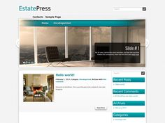 EstatePress is excellent solution for your realty or other blog. This WordPress theme supports and comes with custom widgets, drop-down menus, javascript slideshow and lots of other useful features.