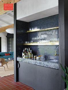 Raise the bar with a cocktail nook. bar Design Within Reach Ichendorf Aurora Glassware Home Wet Bar, Bars For Home, Small Home Bars, Billard Bar, Basement Bar Designs, Basement Ideas, Modern Home Bar Designs, Wet Bar Designs, Home Bar Rooms