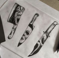 Scream dagger for next week. Added it with the two I tattooed yesterday. I'd… Scream dagger for next week. Added it with the two I tattooed yesterday. I'd love to do more horror icon . Kunst Tattoos, Body Art Tattoos, Sleeve Tattoos, Geek Tattoos, Evil Tattoos, Spooky Tattoos, Skull Tattoos, Tattoo Sketches, Tattoo Drawings