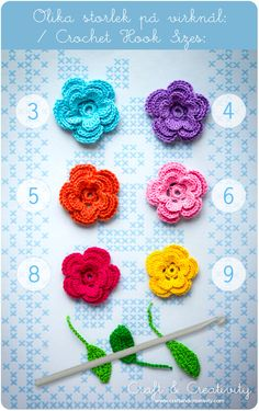 Crochet flowers with different hooks... does make quite a difference