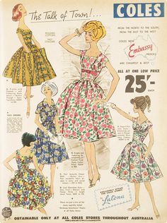 Dresses available to buy from Coles Supermarkets in 1950s Australia