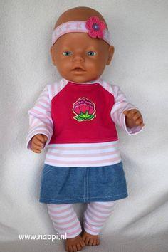 """43397 Shirt, jeansrokje, legging en hoofdband """"Merel"""""""