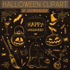 Halloween clipart: Digital Halloween clip art Halloween Clipart This amazing hand drawn halloween clip art set contains 30 different hand drawn