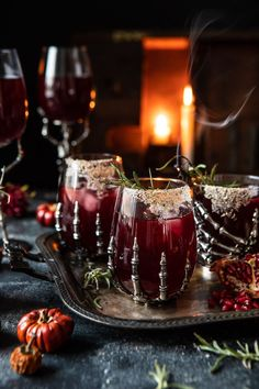 """The Sleepy Hollow Cocktail.the """"spookiest"""" of Halloween cocktails that happens to be warming and frighteningly delicious! Halloween Cocktails, Christmas Cocktails, Holiday Drinks, Honey Syrup, Sleepy Hollow, Pomegranate Juice, Cranberry Juice, Half Baked Harvest, Partys"""