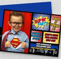 cute superhero photo invitation, first birthday superhero invitations, customized for you comic invitation