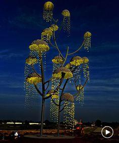 "Indian designer and artist Vibhor Sogani has designed a modern stainless steel sculpture named ""Kalpavriksha – the wish fulfilling tree"". Sculpture Stand, Steel Sculpture, Sculpture Art, Sound Sculpture, Outdoor Sculpture, Sculptures, Urbane Kunst, Instalation Art, Outdoor Art"