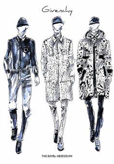 Givenchy Menswear Spring 2015. Fashion Illustration by Doryanna Popa.