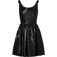 Miu Miu Leather dress, Black, Women's, Size: 40 (€1.500) ❤ liked on Polyvore featuring dresses, vestidos, short dresses, black, fit & flare dress, layered dress, fit and flare dress, fit and flare mini dress and short black dresses