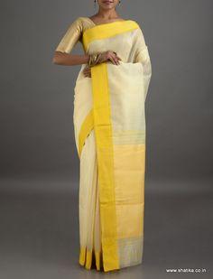 Archana Yellow Border #MaheshwariSilkCottonSaree