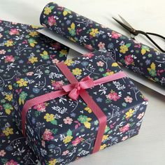 Navy Blue Floral Gift Wrap