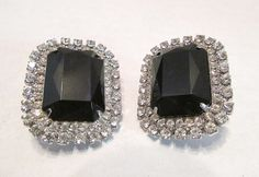 Large Rhinestone and Black Glass Clip Earrings by MullerGlass $30