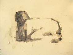 "Frank Hobbs, ""Crouching Figure,"" monotype, 9 x 11 in."