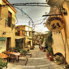 Pedestrian street, Athens, Greece- sparse, warm and arid- not humid- comforting, works with topography and flagstone grants human scale Oh The Places You'll Go, Places To Travel, Places To Visit, Travel Destinations, Wonderful Places, Beautiful Places, Santorini Grecia, Rue Pietonne, Cities