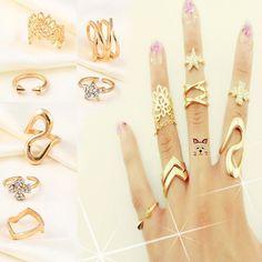 7stk.Ring Knöchelring Midi Ring Obergelenkring Fingerspitzenring Fingerring Set   eBay