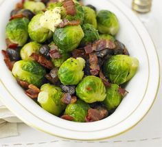 Brussels sprouts with bacon & chestnuts Buttered sprouts with chestnuts & bacon recipe - Recipes - BBC Good Food Xmas Food, Christmas Cooking, Christmas Food List, Dinner Party Recipes, Holiday Recipes, Christmas Recipes, 5 Am Tag, Christmas Side Dishes, Christmas Dinner Sides