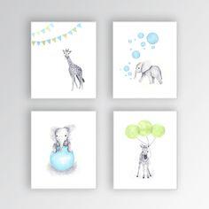 Baby Boy Nursery Decor, Canvas Nursery Art, Blue and Green Nursery, Elephant…