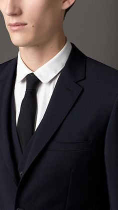 True navy Slim Fit Wool Mohair Part-canvas Three-Piece Suit - Image 4