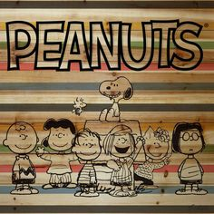 Description: The gang is all here in this Peanuts art featured on natural pine wood. The characters are illustrated in black in front of a stupid background and Peanuts logo. - Peanuts wall art featur