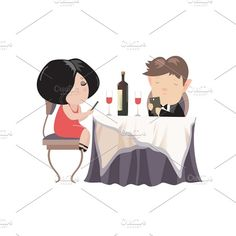 0d7d8cf7125c Couple dinner with smartphones by masastarus on  creativemarket