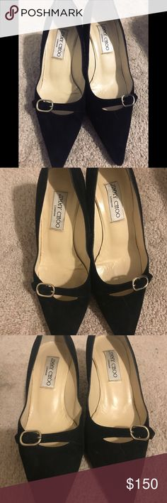 Jimmy Choo heels Short heels about 2inches or 3 . Well kept black velvet size 7 1/2 . Jimmy Choo Shoes Heels
