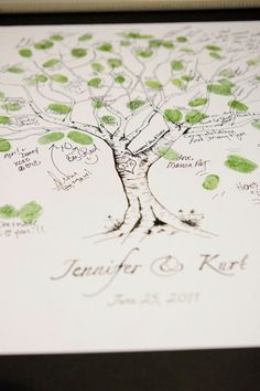 Guestbook Fingerprint Tree 100 Guests by jenniferjdesigns on Etsy, but you could totally wake one yourself I bet! Cute baby shower idea =)