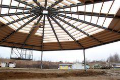 Unterm Dach während des Baus im Januar 2015