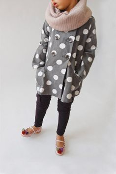 Polka dot jacket and chunky scarf. Cuteness