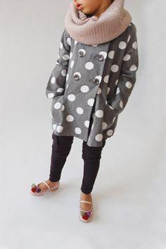 Polka dot jacket and chunky scarf. Cuteness